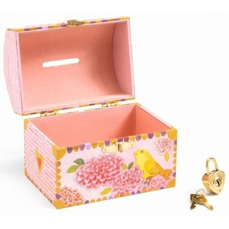 Birds Money Box, open with padlock and keys