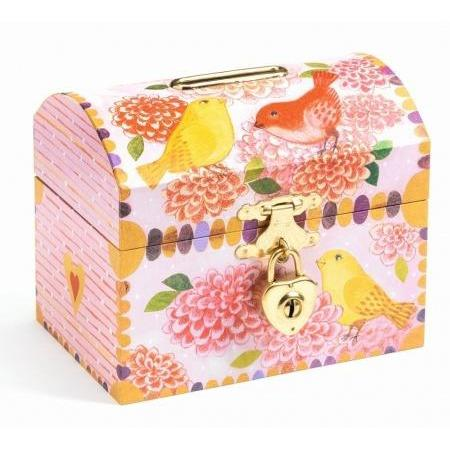 Birds Money Box, closed with padlock visible