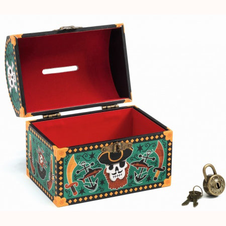 Pirate Money Box, open with keys and lock