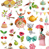 Princess Tea Party Stickers by Djeco, detail of sticker sheet