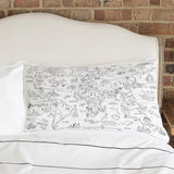 Doodle World Map Pillowcase, blank on bed