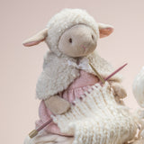 Dylis the lamb, posed knitting