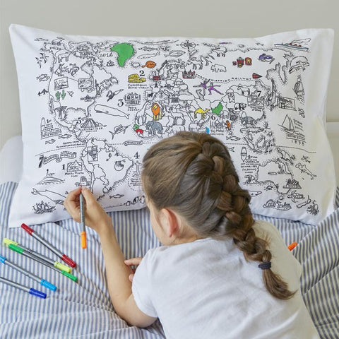 Doodle World Map Pillowcase, girl doodling in bed