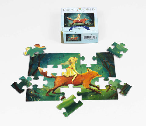 Dream Fox - Mini Jigsaw Puzzle, incomplete puzzle and box