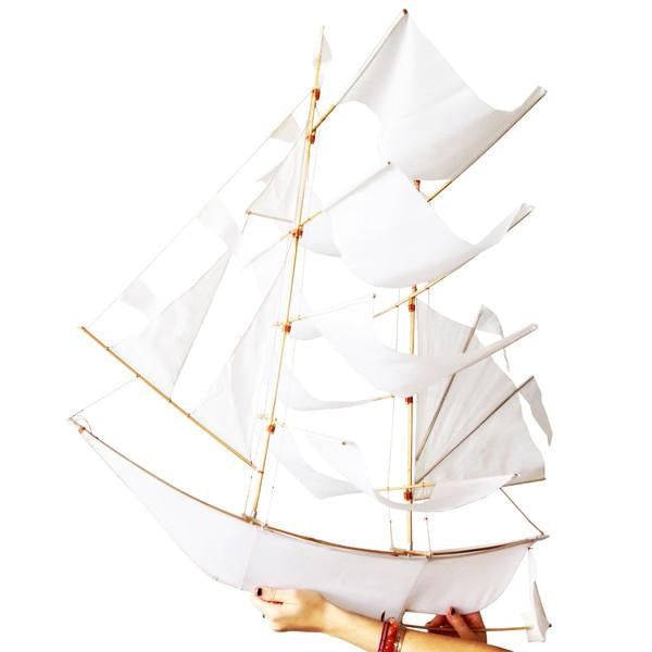 Ghost Ship Kite - Large White, with hand holding
