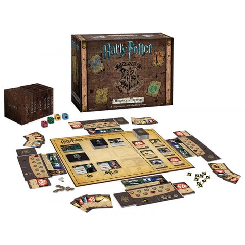 Hogwarts Battle - A Co-operative Deck Building Game, sample of contents and box displayed