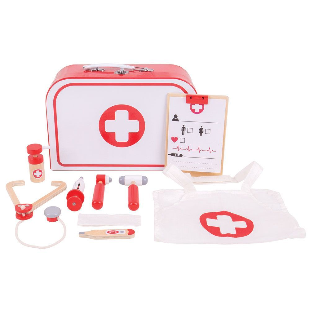 Wooden Doctor's Play Kit, with case and contents displayed
