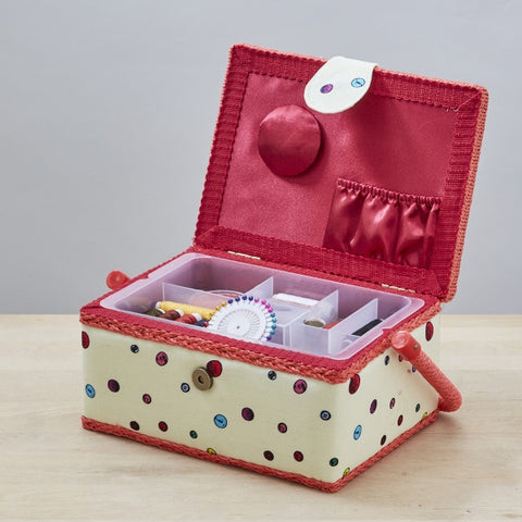 Filled Sewing Basket - Buttonbag, open lid