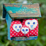 Owl House Family Sewing Kit - Buttonbag, owls outside in treehouse