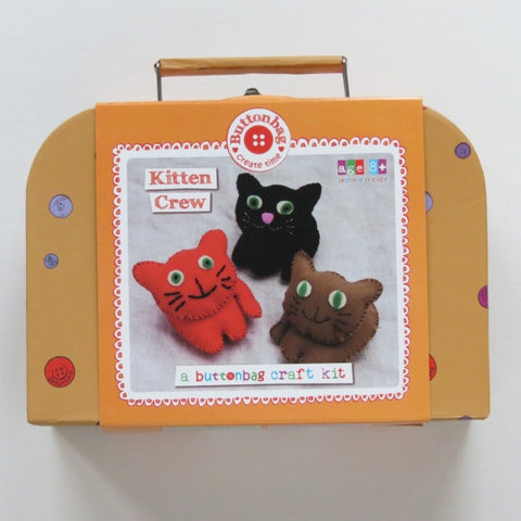 Kitten Crew Sewing Kit - Buttonbag, boxed in suitcase