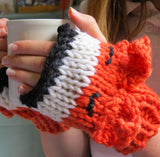 Foxy Mittens Knit Kit - Buttonbag, finished mittens holding cup