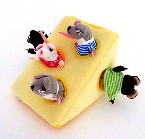 Hide-Away Puppets - Mouse Family in Cheese, different angle