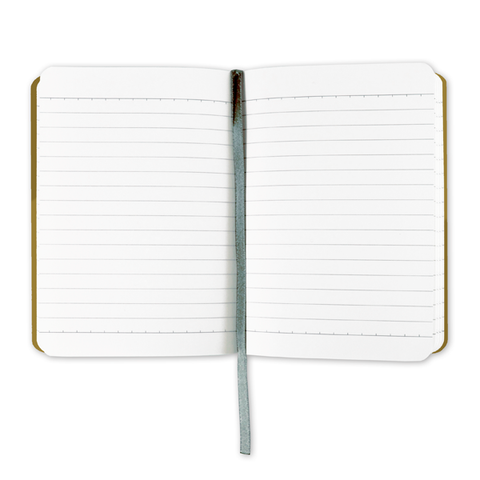 & Foil A6 Notebook, open to show lined paper
