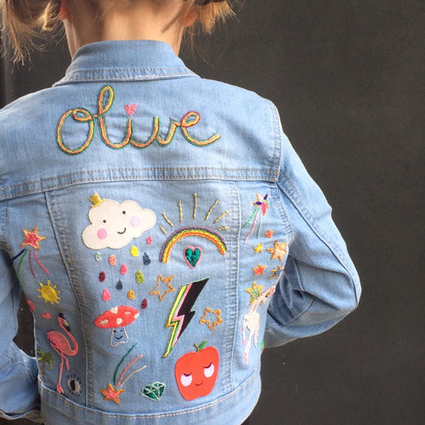 Iron on patches displayed on denim jacket