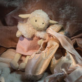 Dylis the lamb posed with ballet shoe