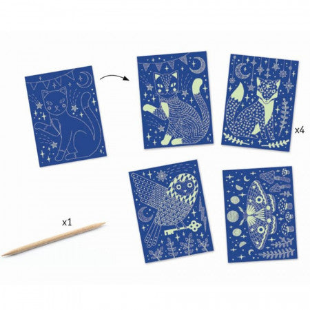 At Night - Glow in the Dark Scratch Card Art, 4 different designs and scratch tool