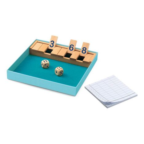 Shut the Box, inside box, showing score pad, dice and wooden numbers