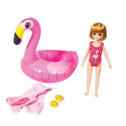 Pool Party Lottie Doll, unboxed with contents