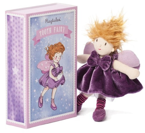 Ragtales Tooth Fairy doll purple, unboxed , next to box which is also a bed