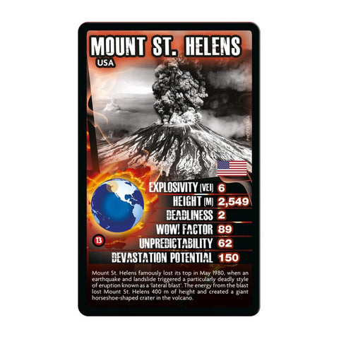 Volcanoes -Top Trumps Game, sample card Mount St Helens