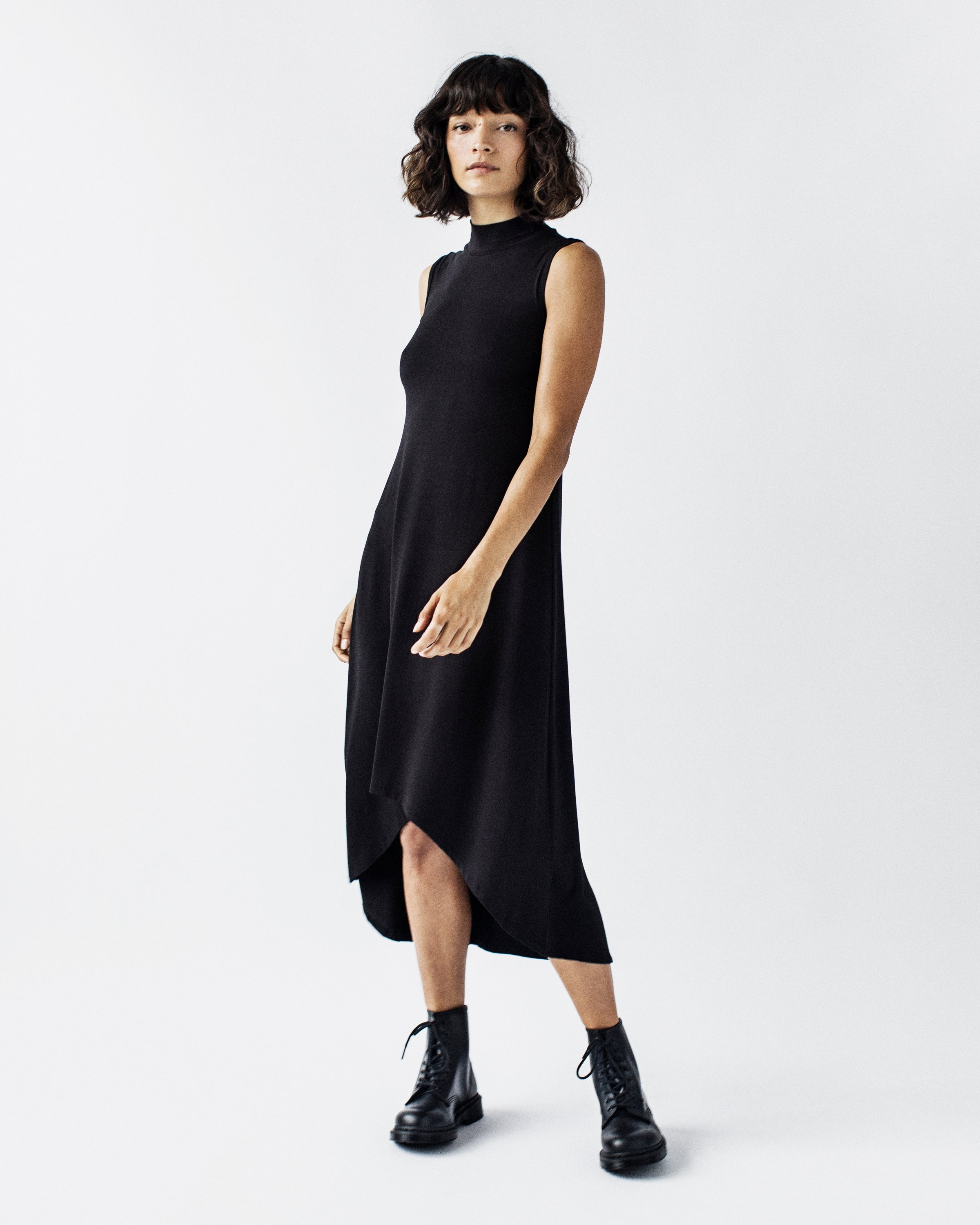 CINDY Sleeveless - Mock Neck, High-Low, A-line, Viscose Jersey Dress