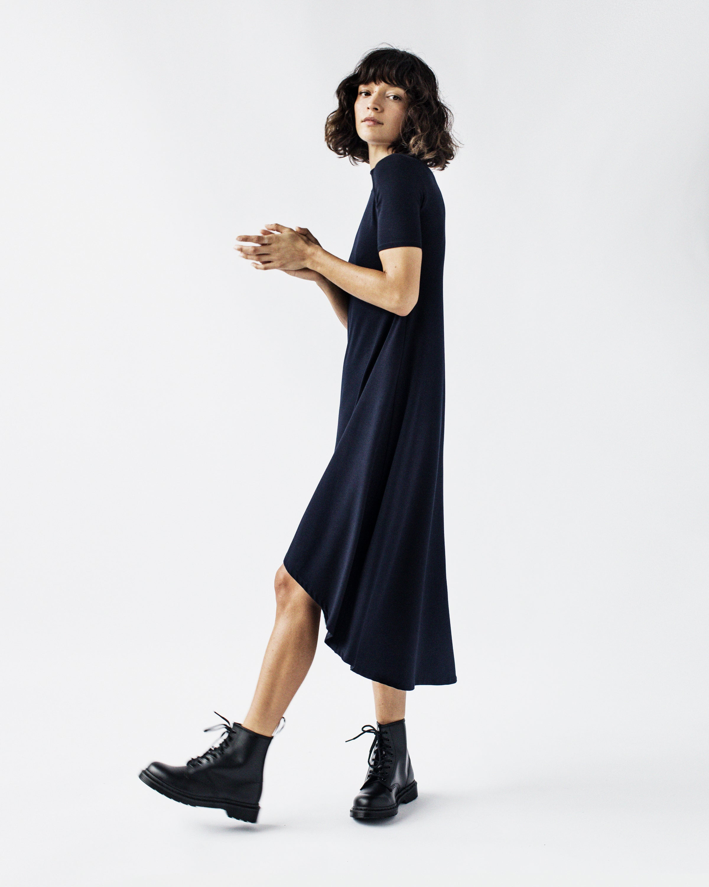 CINDY Short Sleeve - Mock Neck, High-Low, A-line Viscose Jersey Dress