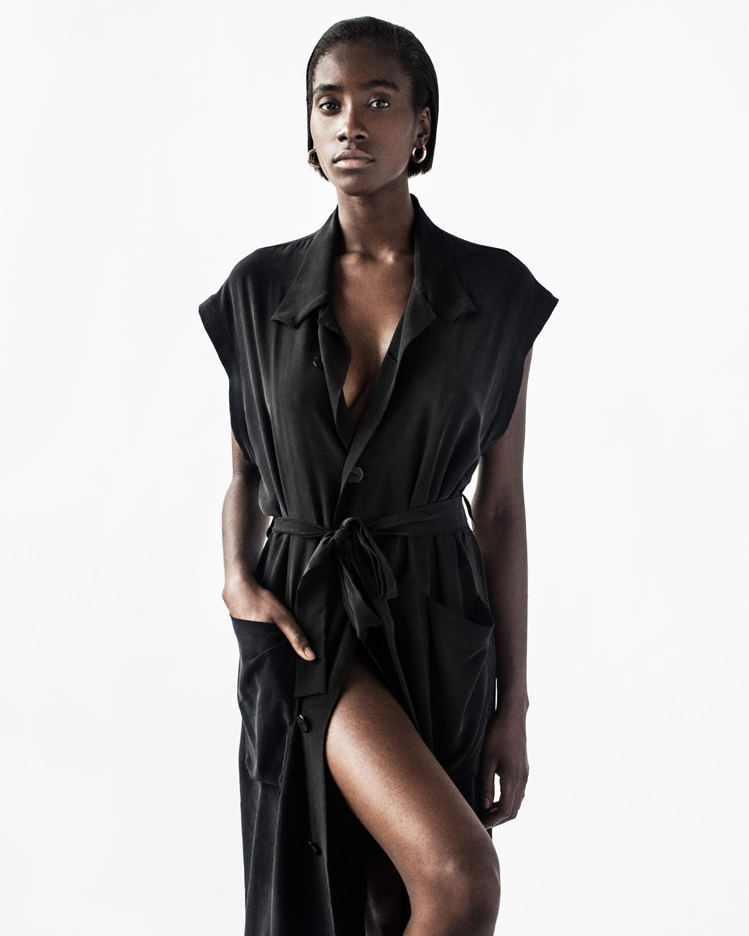 NICOLA Trench - sleeveless silk trench coat