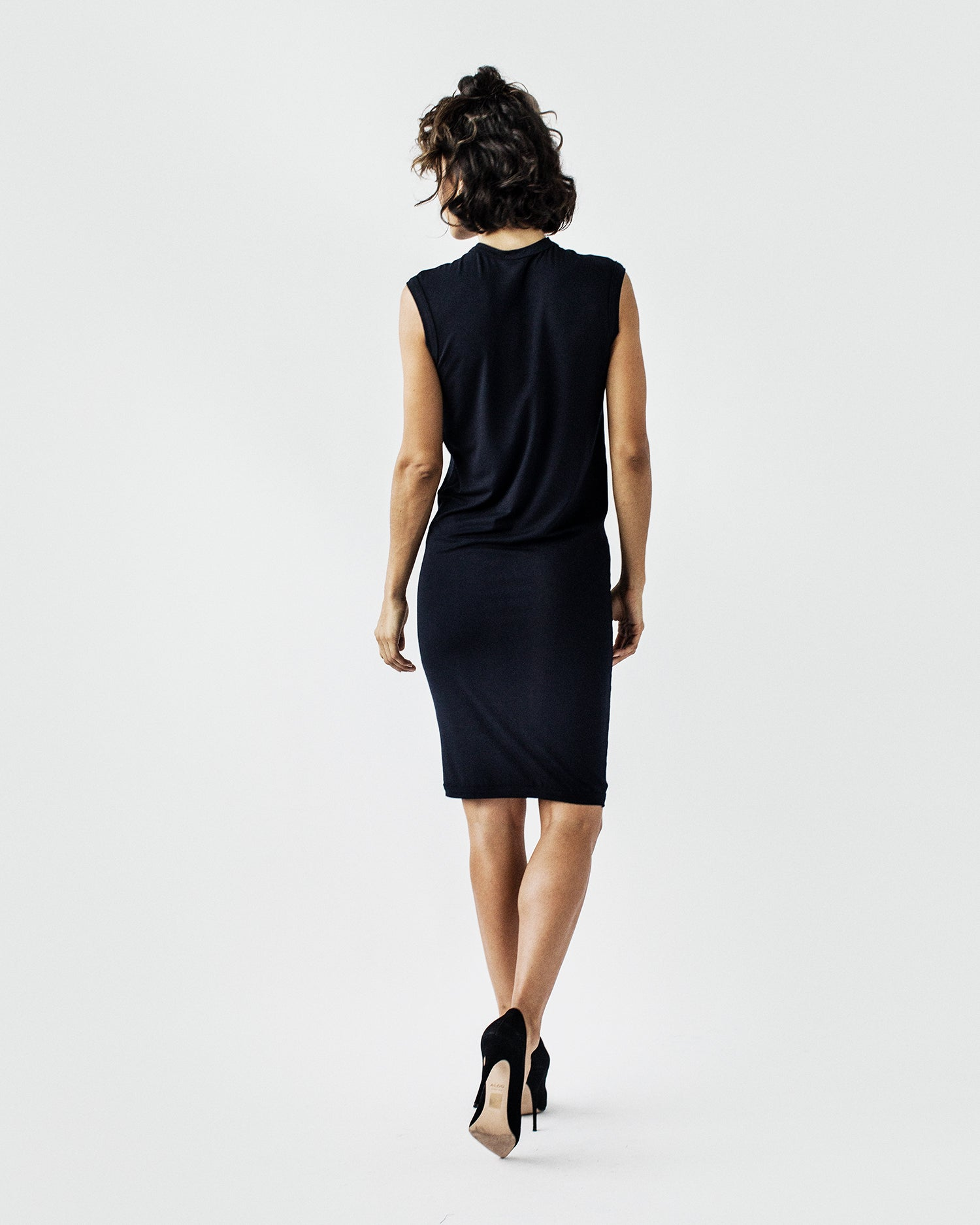 SHANNON Crew Neck-  Sleeveless, Semi-Fitted, Viscose Jersey Dress