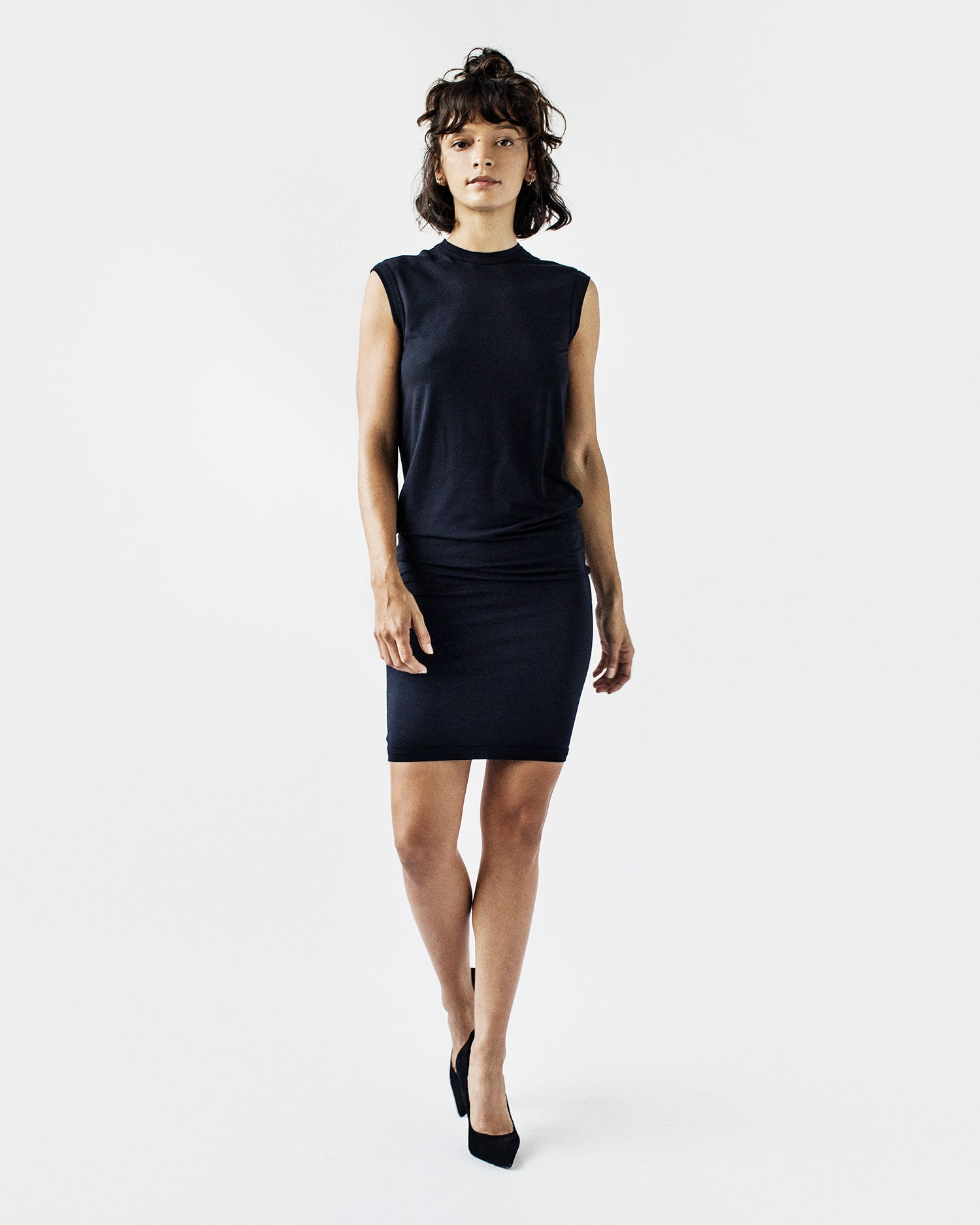 SHANNON Crew Neck Sleeveless Jersey Dress