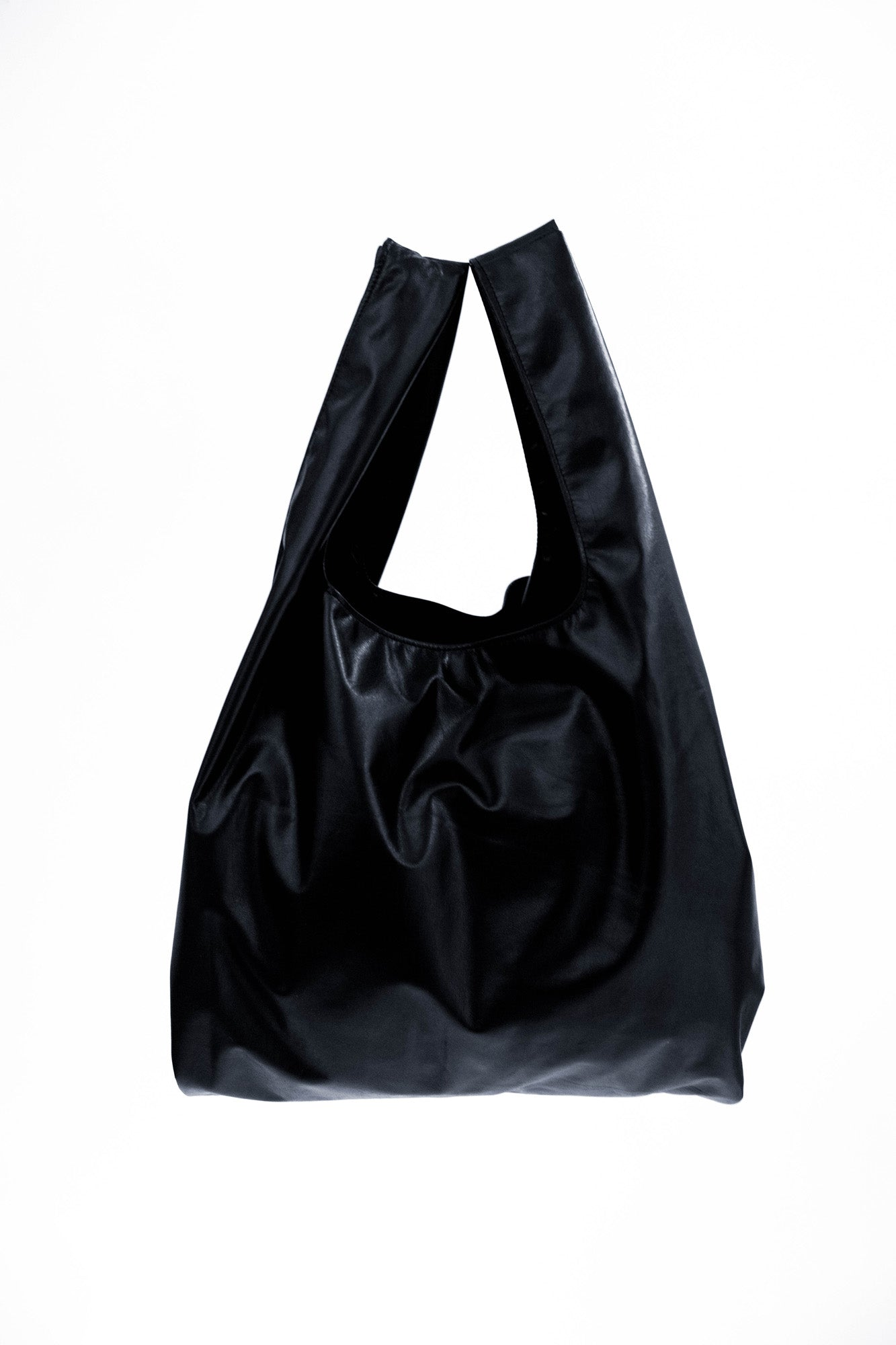 NOT SO PLASTIC BAG - Large Black Plonge Leather Tote