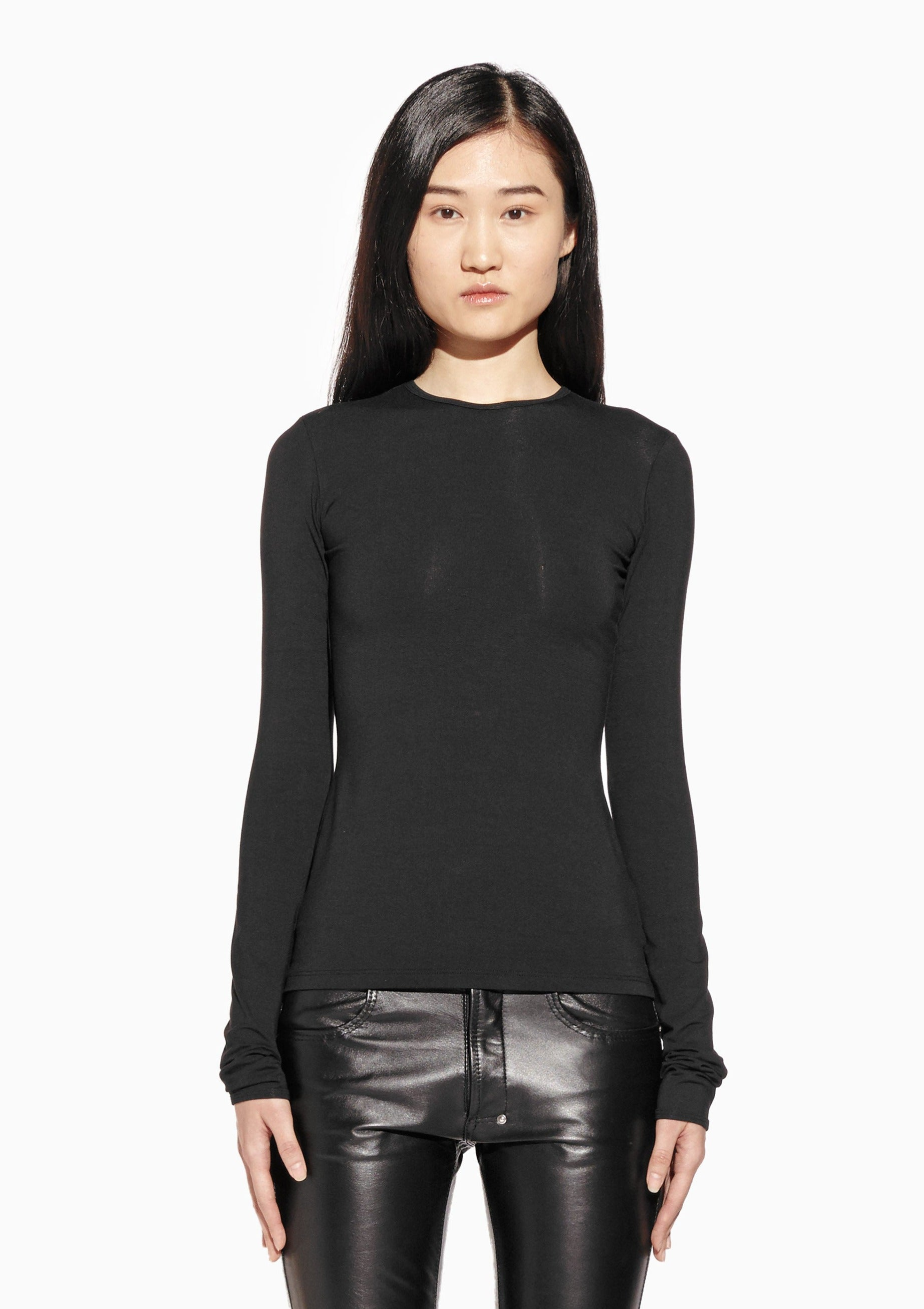 AUDREY Long Sleeve - Crew-Neck, Fitted, Viscose Jersey Top