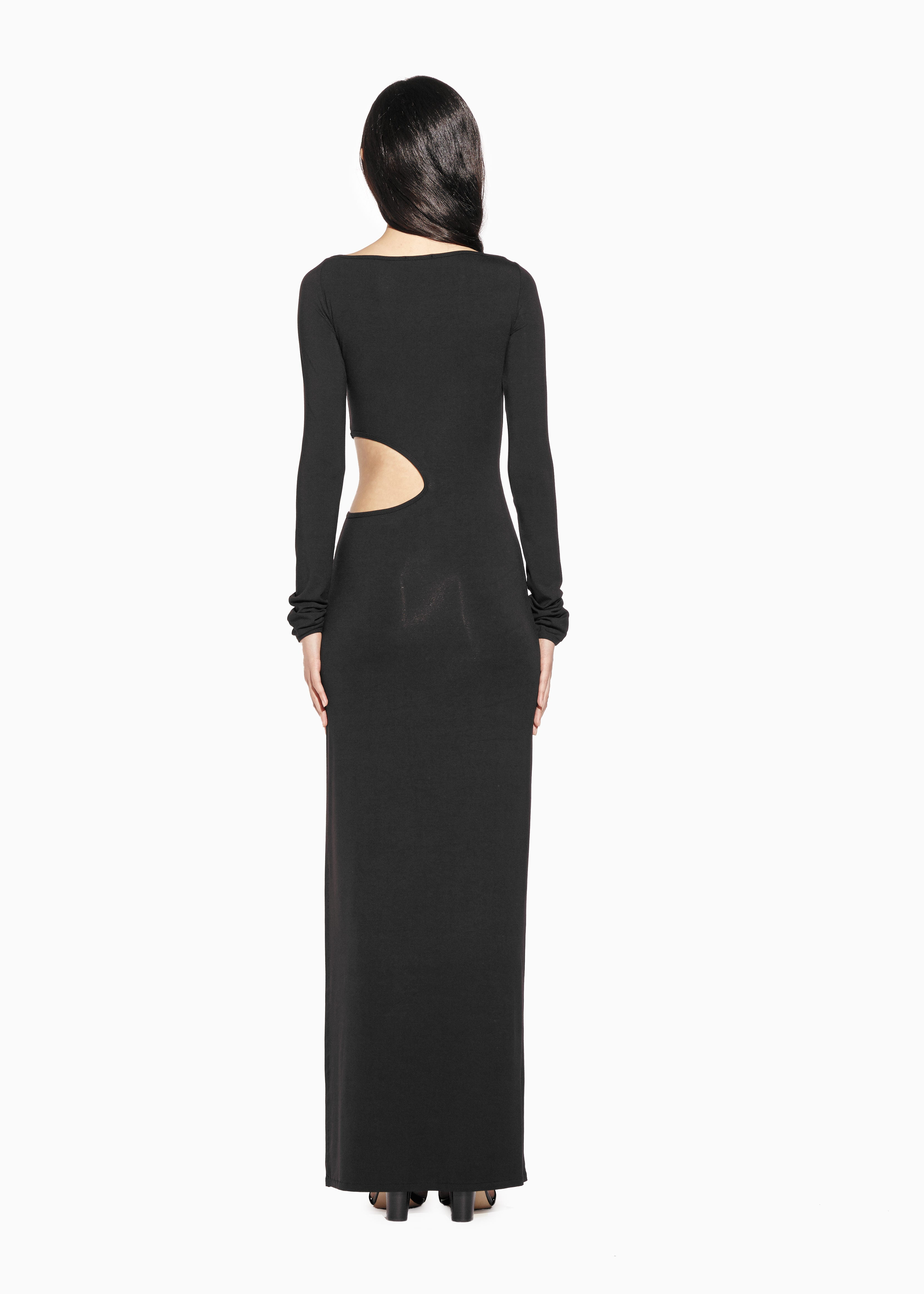 ALICE - Boat-Neck, Viscose Jersey Long Dress with Slit and cut out at the waist.