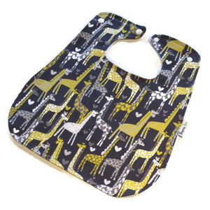 Handmade Super Bib - Grey Giraffe - Little Greenie