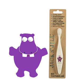 Jack N' Jill Bio Kids Toothbrush - Hippo - Little Greenie