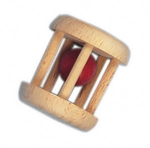 Wooden cage rattle red bell - Little Greenie