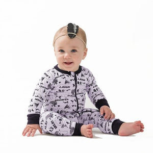 Aster & Oak Enchanted Mono Map Organic Zip Romper - Little Greenie