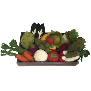 Felt vegetables in crate