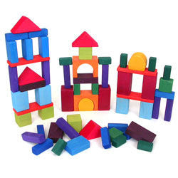 Grimms Traditional Coloured Building Blocks - 60 Pieces - Little Greenie