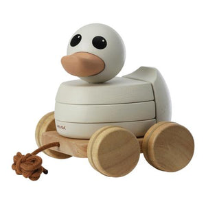 Hevea rubberwood stacking pull toy duck