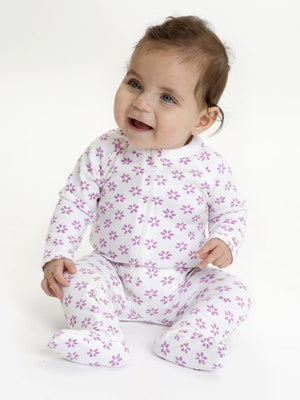 Tropical Bloom Organic Zip Onesie - Little Greenie