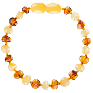 Baltic Amber Children's Bracelet / Anklet - Baroque Milk & Cognac - Little Greenie