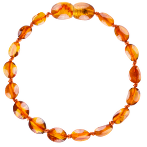 Baltic Amber Children's Bracelet / Anklet - Cognac Beans - Little Greenie