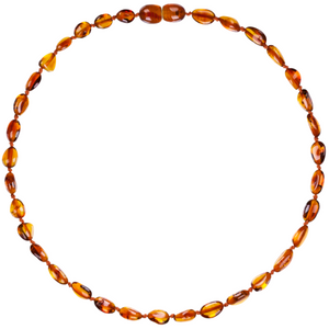 Baltic Amber Children's Necklace - Cognac Beans - Little Greenie