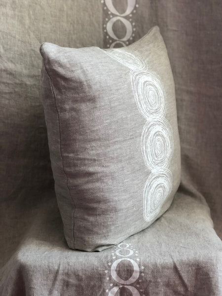Linen pillow with white scribble swirl