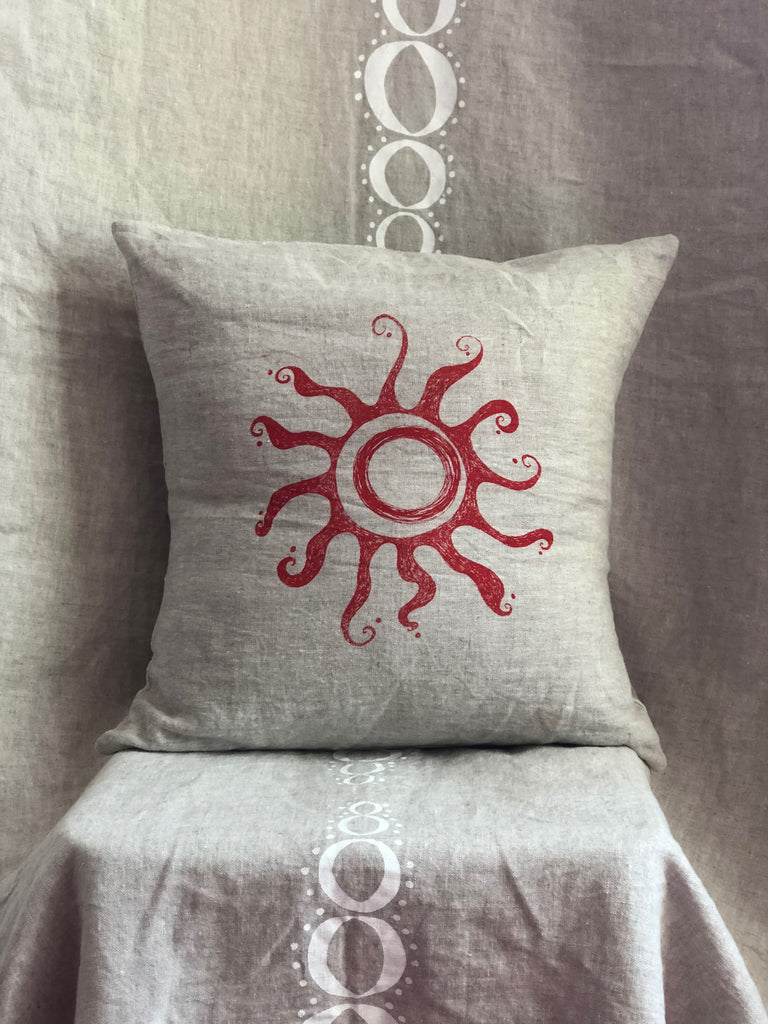 Sunshine Pillow/linen with red ink