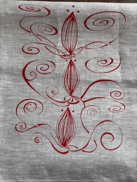 Linen table runner with red new vine design