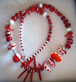 Glass and Coral Necklace - Red and White