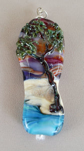 Coastal Tall Tree Pendant - Lampwork glass, landscape design with tree