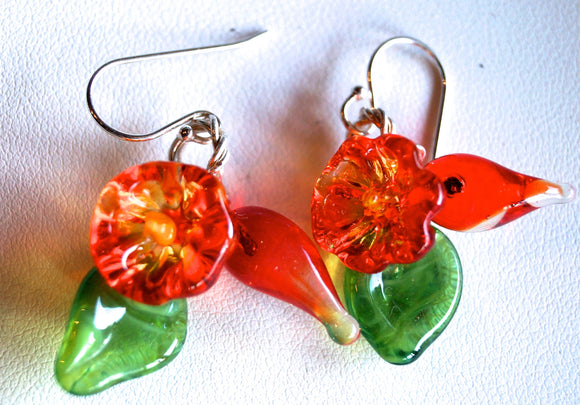 Flowers Drop Earrings - Transparent Orange