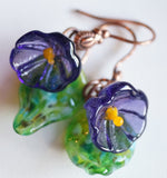 Flowers Drop Earrings - Transparent Purple